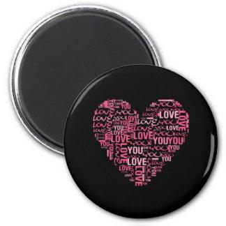 私はタイポグラフィのハートのバレンタインデーのギフト愛します マグネット