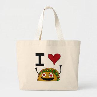 私はタコスのバッグを愛します ラージトートバッグ