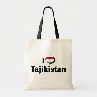 私はタジキスタンの旗を愛します トートバッグ