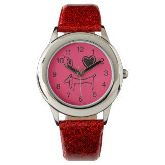 私はダックスフントの時計を愛します 腕時計