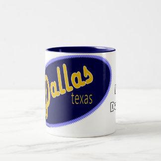 私はダラステキサス州のマグを愛します ツートーンマグカップ