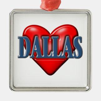 私はダラステキサス州を愛します メタルオーナメント