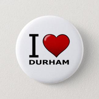 私はダラム、NC -ノースカロライナ--を愛します 缶バッジ