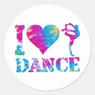 私はダンスの絞り染めを愛します ラウンドシール