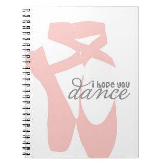 私はダンス-ピンクのバレエのスリッパ-ノート望みます ノートブック