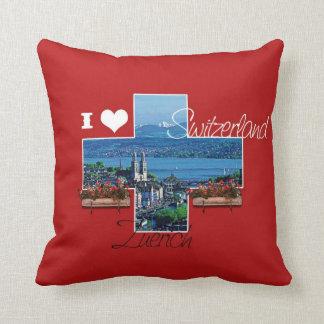 私はチューリッヒ、スイス連邦共和国-枕--を愛します クッション