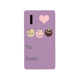 私はチョコレートトラッフルを愛します ラベル