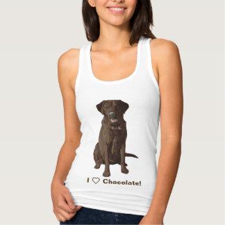 私はチョコレートラブラドル・レトリーバー犬を愛します タンクトップ