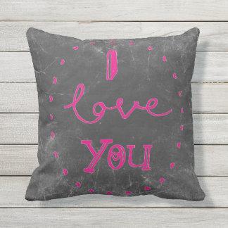 私はチョークのピンクのテラスのクッションの装飾の枕愛します クッション