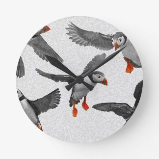 私はツノメドリを愛します! ラウンド壁時計