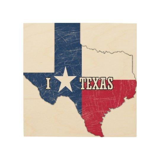 私はテキサス州を愛します ウッドウォールアート