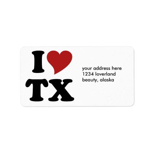 私はテキサス州を愛します 宛名ラベル