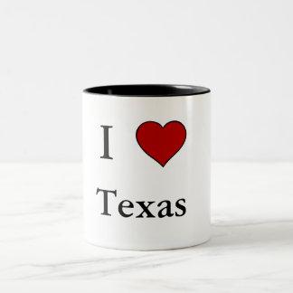 私はテキサス州-ツートーンマグ--を愛します ツートーンマグカップ