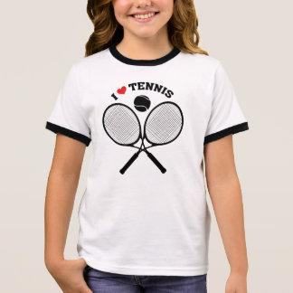 私はテニスによって交差させるラケットテニスのTシャツを愛します リンガーTシャツ