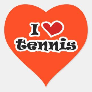 私はテニスのステッカー-ハートの形--を愛します ハートシール