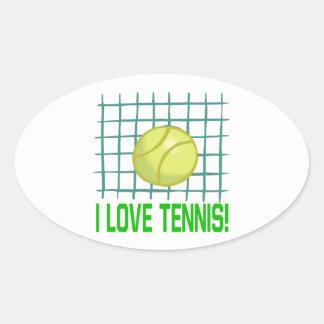 私はテニスを愛します 楕円形シール