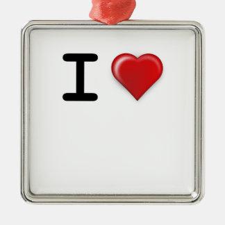 私はテンプレートを愛します シルバーカラー正方形オーナメント