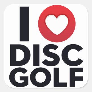私はディスクゴルフステッカーのパックを愛します スクエアシール