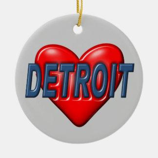 私はデトロイトを愛します セラミックオーナメント