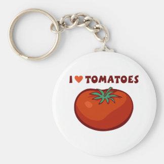 私はトマトを愛します ベーシック丸型缶キーホルダー