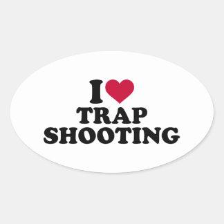私はトラップ射撃を愛します 楕円形シール