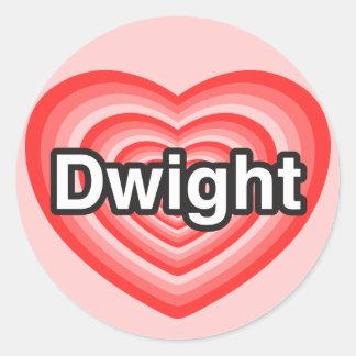 私はドゥワイトを愛します。 私はドゥワイト愛します。 ハート ラウンドシール