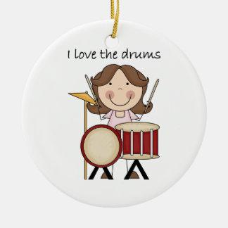 私はドラム子供音楽ギフトを愛します セラミックオーナメント