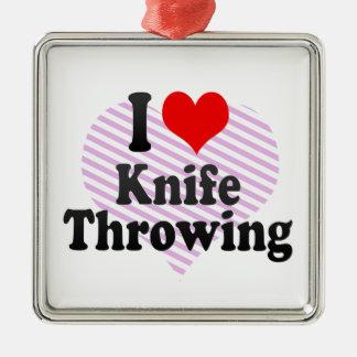 私はナイフの投げを愛します メタルオーナメント
