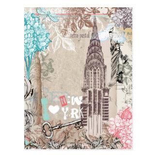 私はニューヨークのヴィンテージの郵便はがきを愛します ポストカード