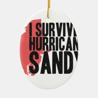 私はハリケーンのサンディのTシャツを生き延びました セラミックオーナメント