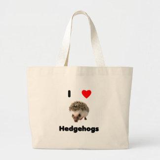 私はハリネズミのバッグを愛します ラージトートバッグ