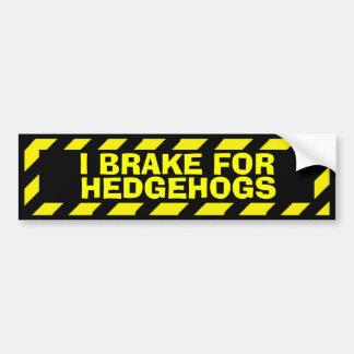 私はハリネズミの黄色い注意のステッカーのためにブレーキがかかります バンパーステッカー