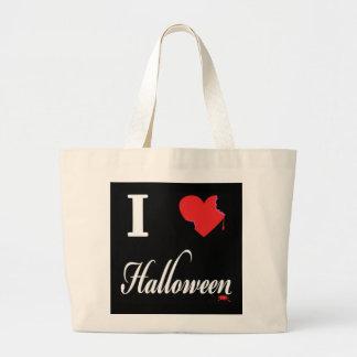私はハロウィンを愛します ラージトートバッグ