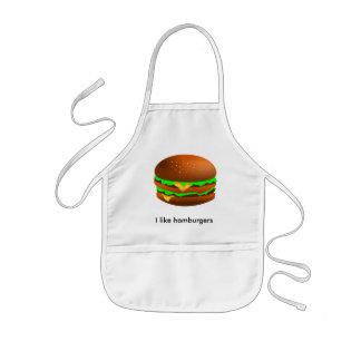 私はハンバーガーを好みます 子供用エプロン