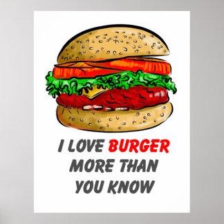 私はハンバーガーポスターを愛します ポスター