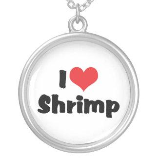 私はハートのエビ-魚介類の恋人--を愛します シルバープレートネックレス