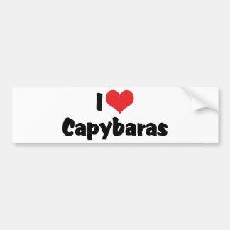私はハートのカピバラを愛します バンパーステッカー