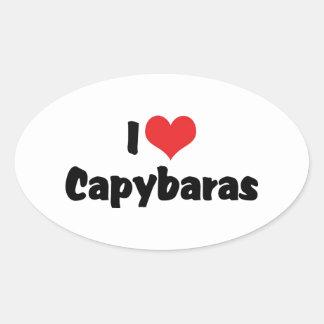 私はハートのカピバラを愛します 楕円形シール