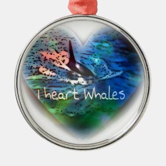 私はハートのギフトのシャチのクジラを愛します メタルオーナメント