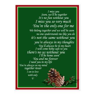 私はハートのクリスマスの半分の文字を、余りに、恋しく思います ポストカード