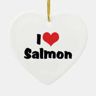 私はハートのサケ-魚の恋人--を愛します 陶器製ハート型オーナメント