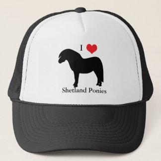 私はハートのシェトランド諸島子馬、帽子、帽子、ギフトのアイディアを愛します キャップ