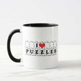 私はハートのジグソーパズル-パズルの恋人--を愛します マグカップ