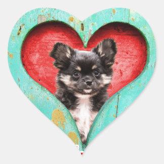 私はハートのチワワ犬を愛します ハート形シールステッカー