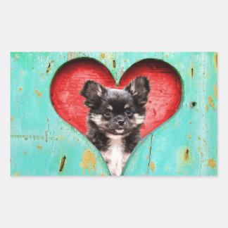 私はハートのチワワ犬を愛します 長方形シール