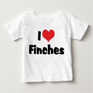 私はハートのフィンチ-鳥の恋人--を愛します ベビーTシャツ