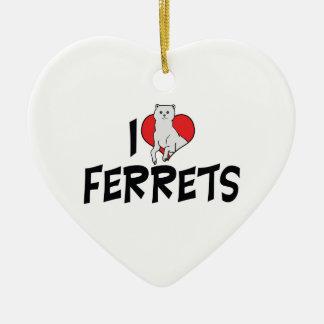 私はハートのフェレット-フェレットの恋人--を愛します セラミックオーナメント