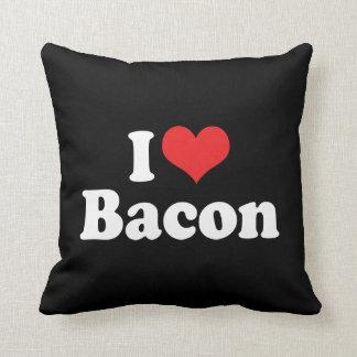 私はハートのベーコン-ベーコンの恋人--を愛します クッション