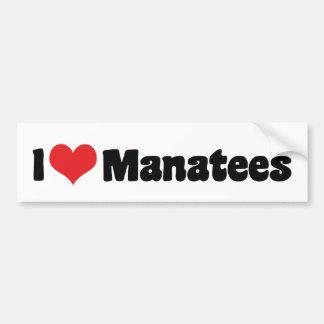 私はハートのマナティーを愛します バンパーステッカー