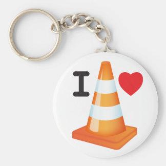 私はハートの交通円錐形の道のマーカーのロードワークを愛します キーホルダー